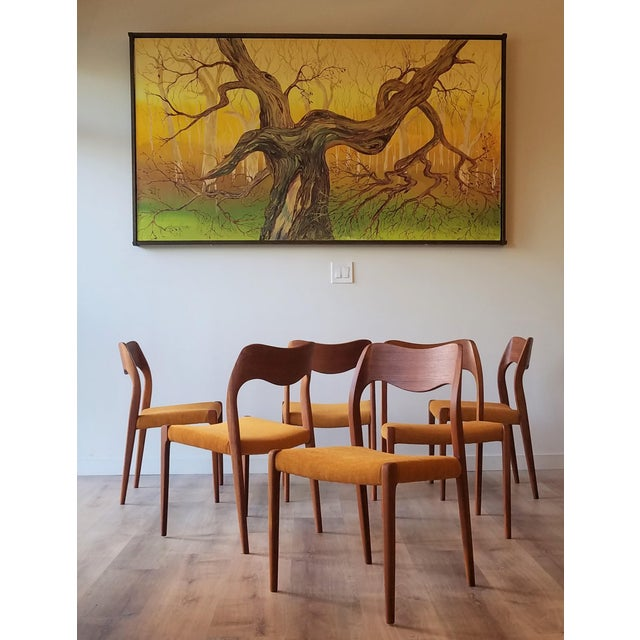 Beautiful set of 6 newly upholstered Model 71 Dining Chairs designed by Niels Moller for his company J.L. Møllers...