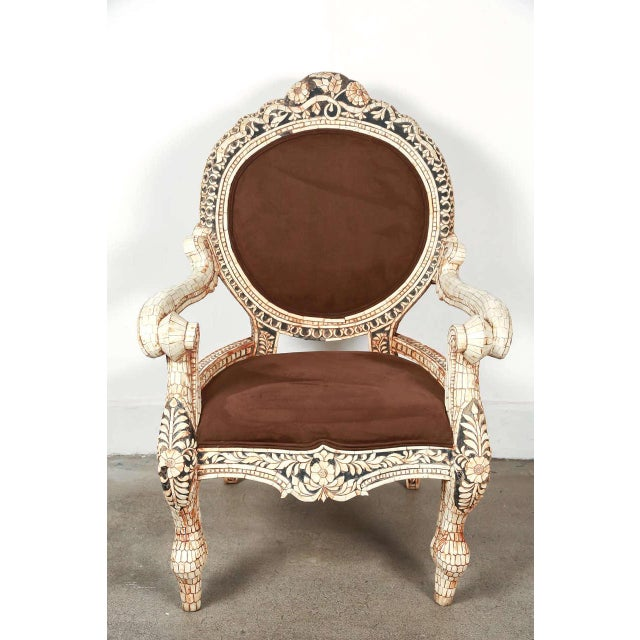 White Early 20th Century Vintage Bone Inlaid Anglo-Indian Armchair For Sale - Image 8 of 8