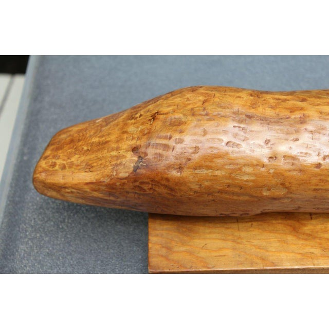 1960s Wood Folk Art Carving of a Crocodile Model For Sale - Image 5 of 7