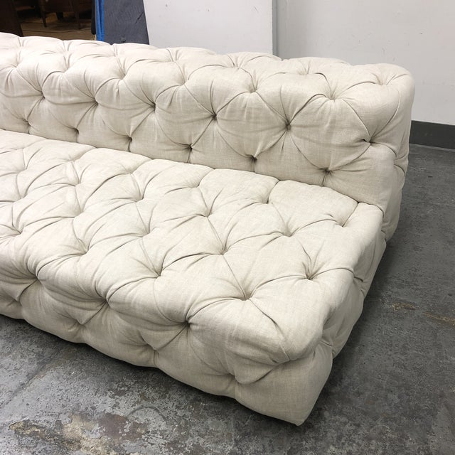 White Restoration Hardware Soho Armless Sofa For Sale - Image 8 of 13