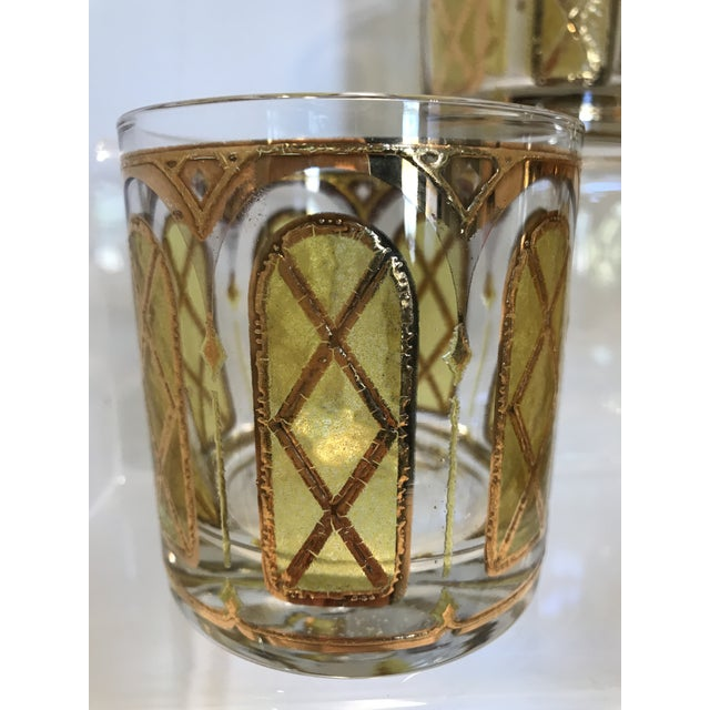Hollywood Regency Mid-Century Yellow & Gold Double Old Fashion Glasses - Set of 6 For Sale - Image 3 of 5