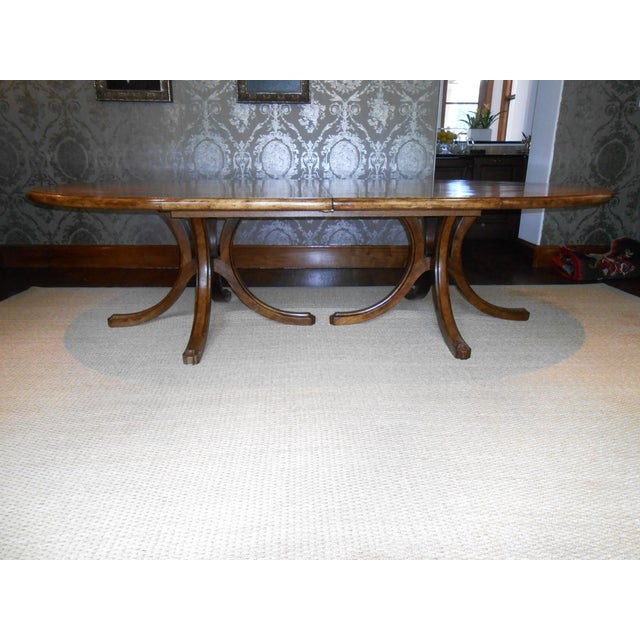 This is a stunning custom Batavia Dining table with (2) pedestal bases & race track style oval top. Dimensions of table...