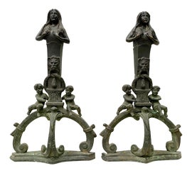 Image of Cast Iron Andirons and Chenets
