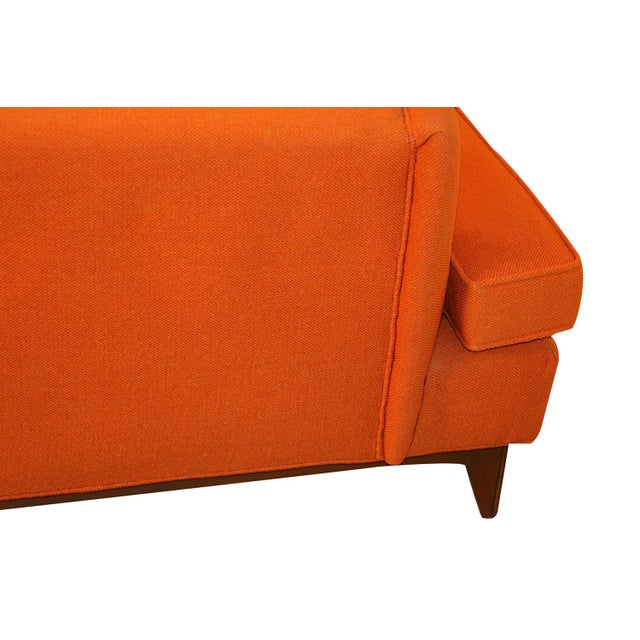 Mid Century Modern Orange Upholstered Curved Sofa For Sale - Image 9 of 12