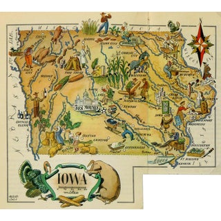 Vintage 1946 Iowa Pictorial Map For Sale