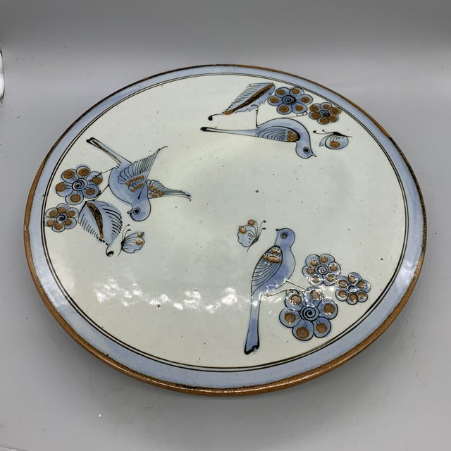 1960's Vintage Ken Edwards Pottery El Palomar Blue Cake Stand For Sale - Image 4 of 10