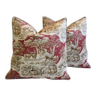 """25"""" Custom Tailored Woodland Toile Deer & Velvet Feather/Down Pillows, Pair For Sale"""