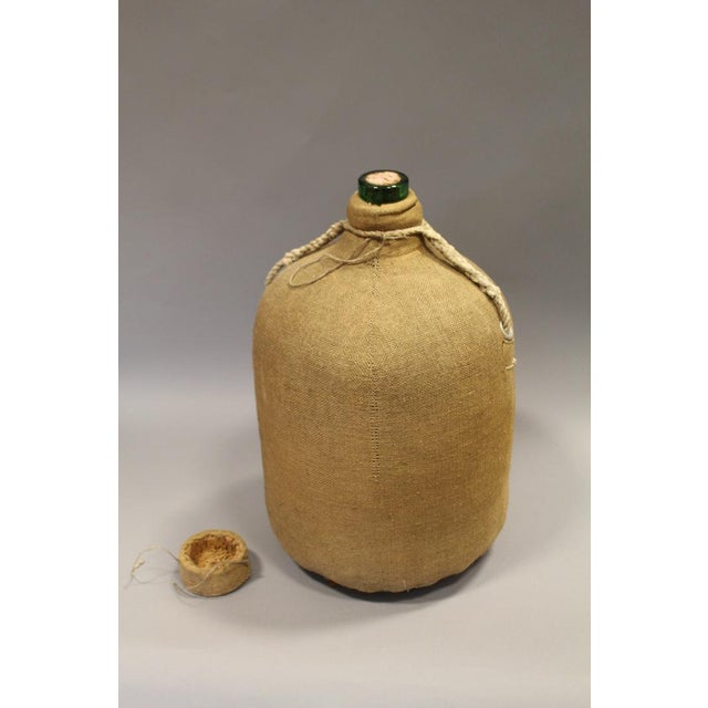 Large French Glass Bottle and Cork Lid With Original Cloth Covering For Sale - Image 4 of 5