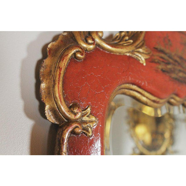 Theodore Alexander Theodore Alexander Chinoiserie Red Lacquer and Gold Painted Mirror For Sale - Image 4 of 11