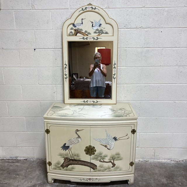 Hand Painted Asian Style Chest With Matching Mirror For Sale - Image 12 of 12