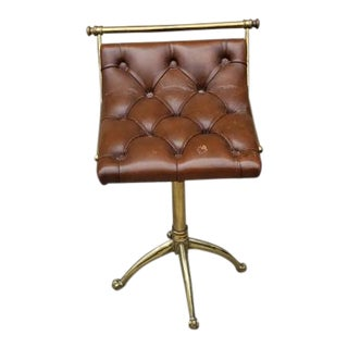 Victorian Edwardian Style Jans of London Brown Leather Tufted Seat With Brass Base Piano Stool For Sale