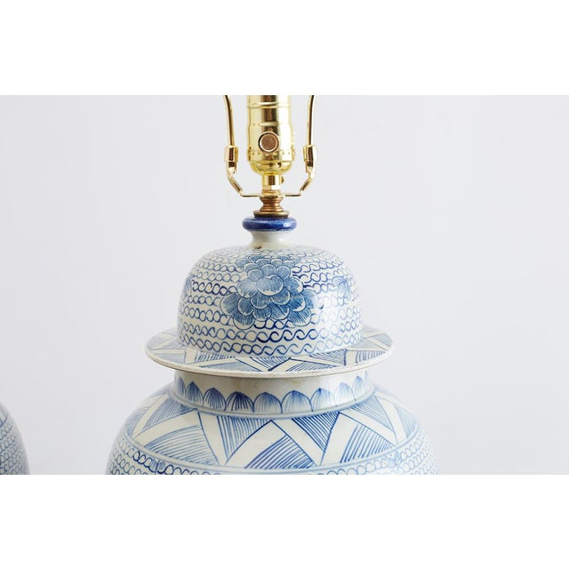 Brass Chinese Porcelain Blue and White Ginger Jar Lamps For Sale - Image 7 of 12