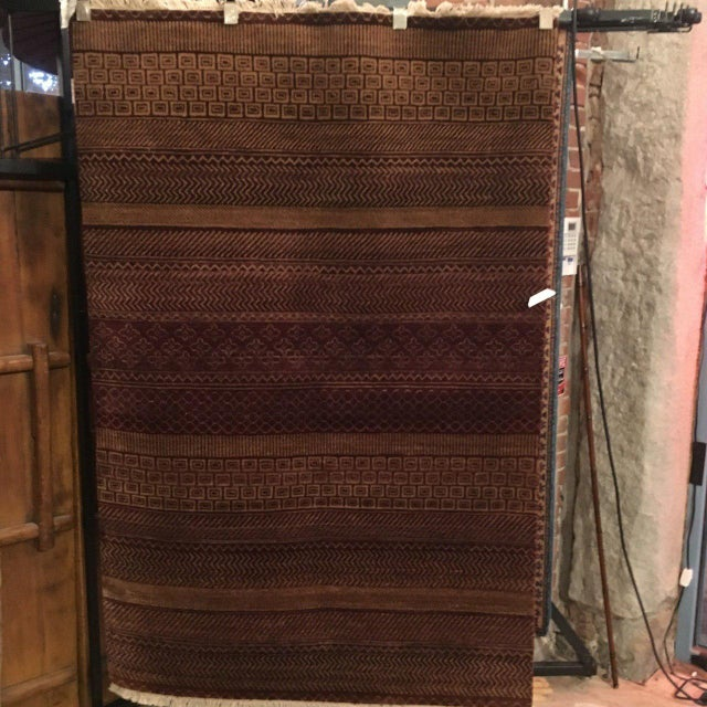 Boho Chic Reddish Brown Contemporary Grass Pattern Carpet - 4′ × 6′ For Sale - Image 3 of 6