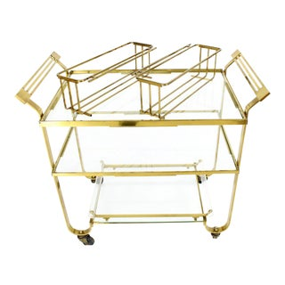 Solid Brass and Glass Mid-Century Modern Bar Cart For Sale