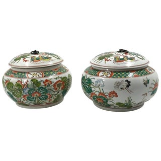Pair of Chinese Famille Verte Lidded Jars For Sale