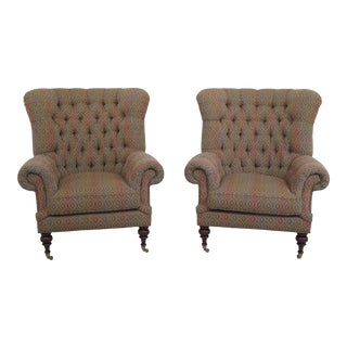Ej Victor Oversized Tufted Back Winged Club Chairs- a Pair For Sale