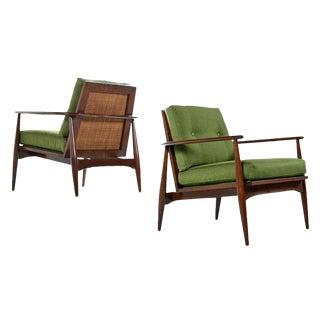 Midcentury Lawrence Peabody Walnut & Cane Horseshoe Bow Back Lounge Chairs For Sale