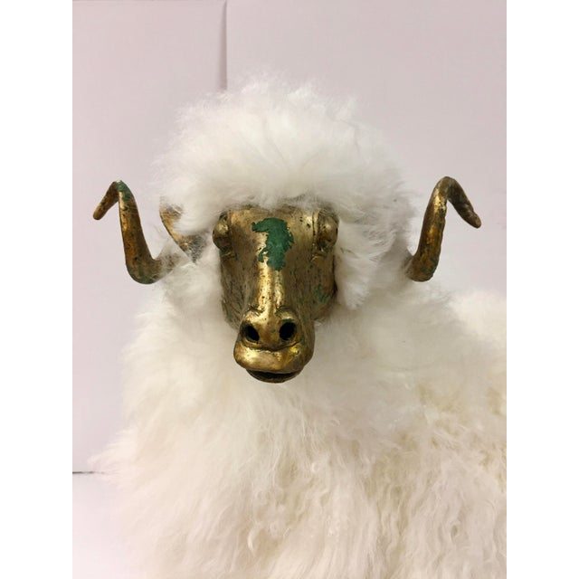 Incredible large ram or mountain sheep wool sculpture in etched bronze and wrapped in real wool. The bronze has a...