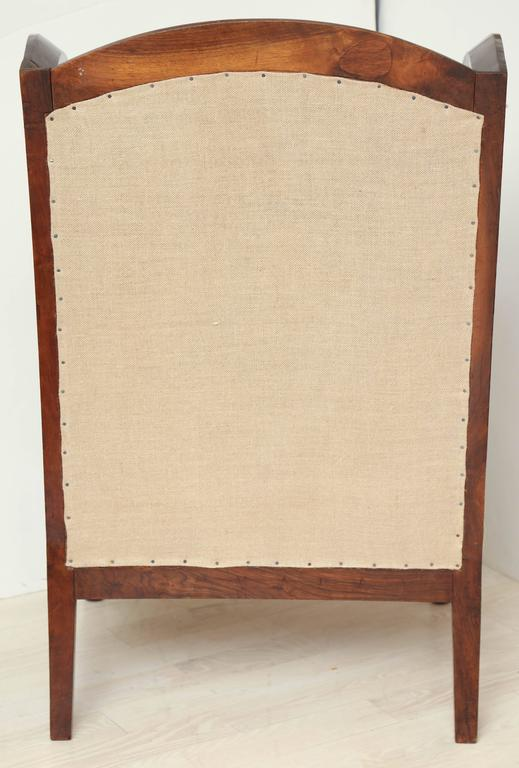 Gentil Early 19th Century French Walnut Upholstered Wing Chair For Sale   Image 9  Of 10