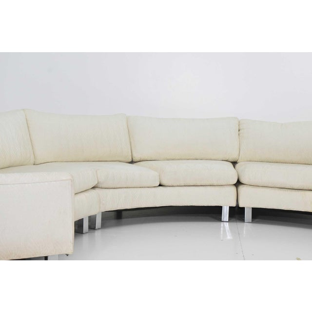 Milo Baughman Large Milo Baughman White Upholstered Four Section Circular Sofa For Sale - Image 4 of 13
