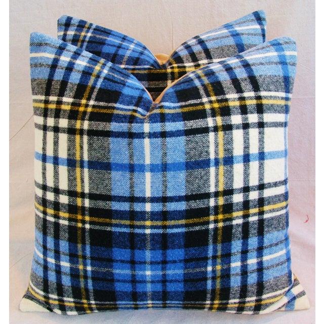 Blue Scottish Tartan Plaid Wool Pillows - A Pair - Image 2 of 10
