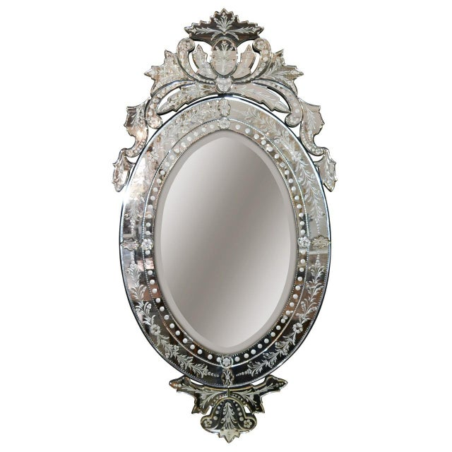 White Venetian Etched Glass Wall Mirror, Circa 1940 For Sale - Image 8 of 8