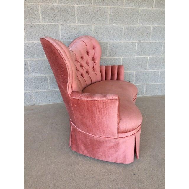 Vintage Pink Tufted Loveseat - Image 4 of 10