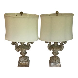 Carved Wood Planter Urn Table Lamps - a Pair For Sale