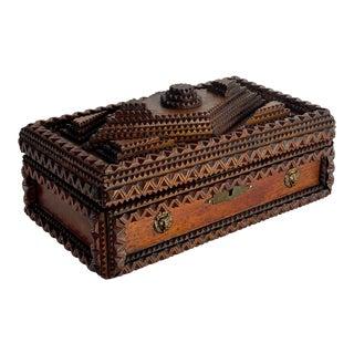 Late 1800s Folk Art Tramp Box For Sale