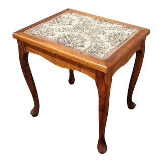 Vintage French Country Petite Side Table W a Tapestry Table Top ~ Footstool For Sale
