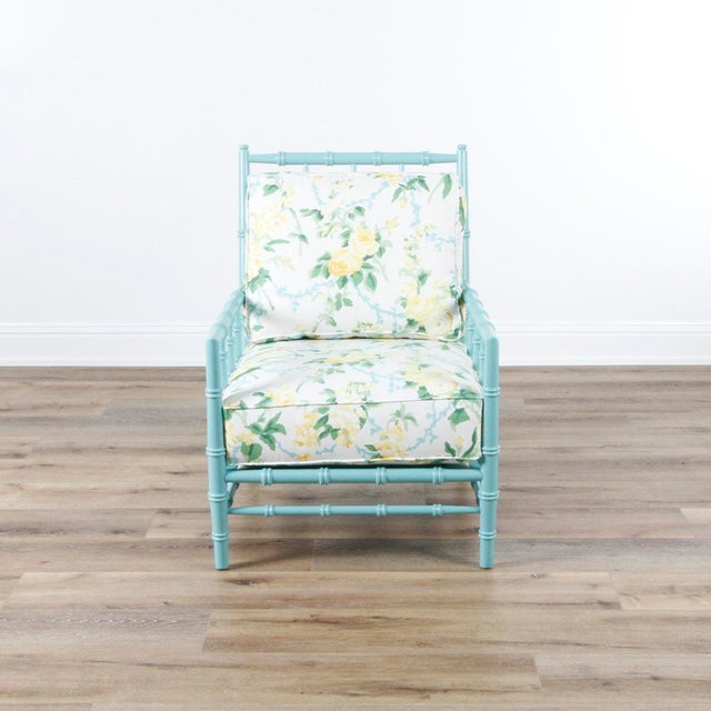Miles Talbot chair with Dana Gibson fabric, custom ordered for our store.