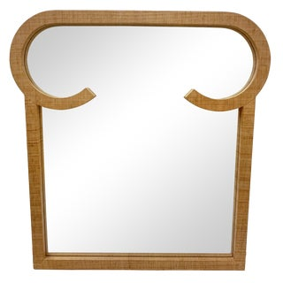 Mid-Century Modern Grass Cloth Wrapped Mirror For Sale