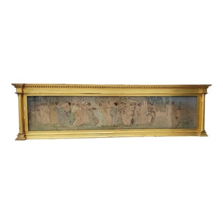 Late 19th C. Classical Lithograph in Carved & Gilded Overmantel Frame For Sale