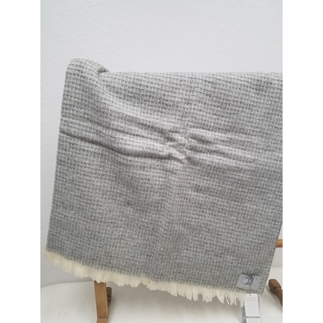 English Wool Throw - Gray Waffle Weave Made in England For Sale - Image 3 of 9