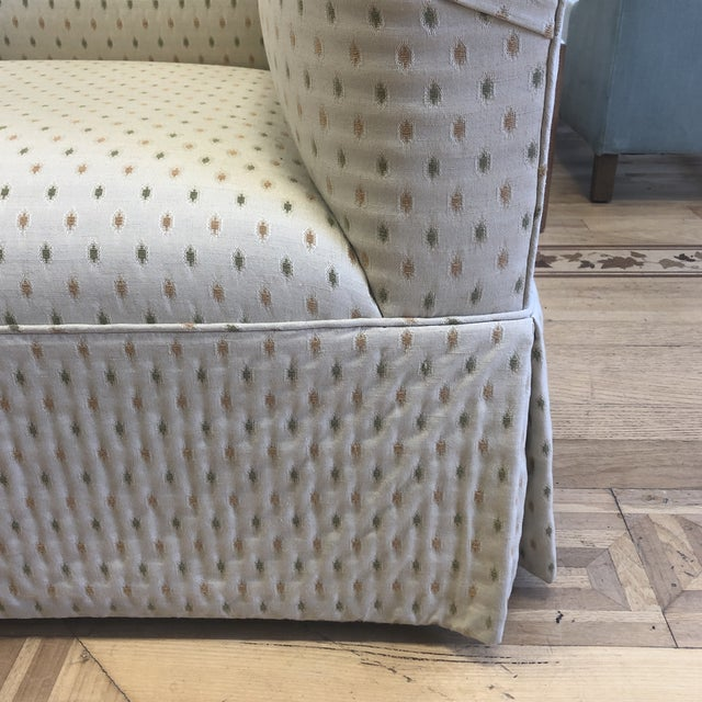 Textile Custom Rolled Arm Swivel Chairs - a Pair For Sale - Image 7 of 9
