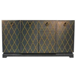 Fabulous Grasscloth Gold Studded Cabinet For Sale