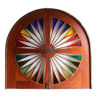 1970s Arts and Crafts Monumental Stained Glass Sliding Doors - a Pair For Sale