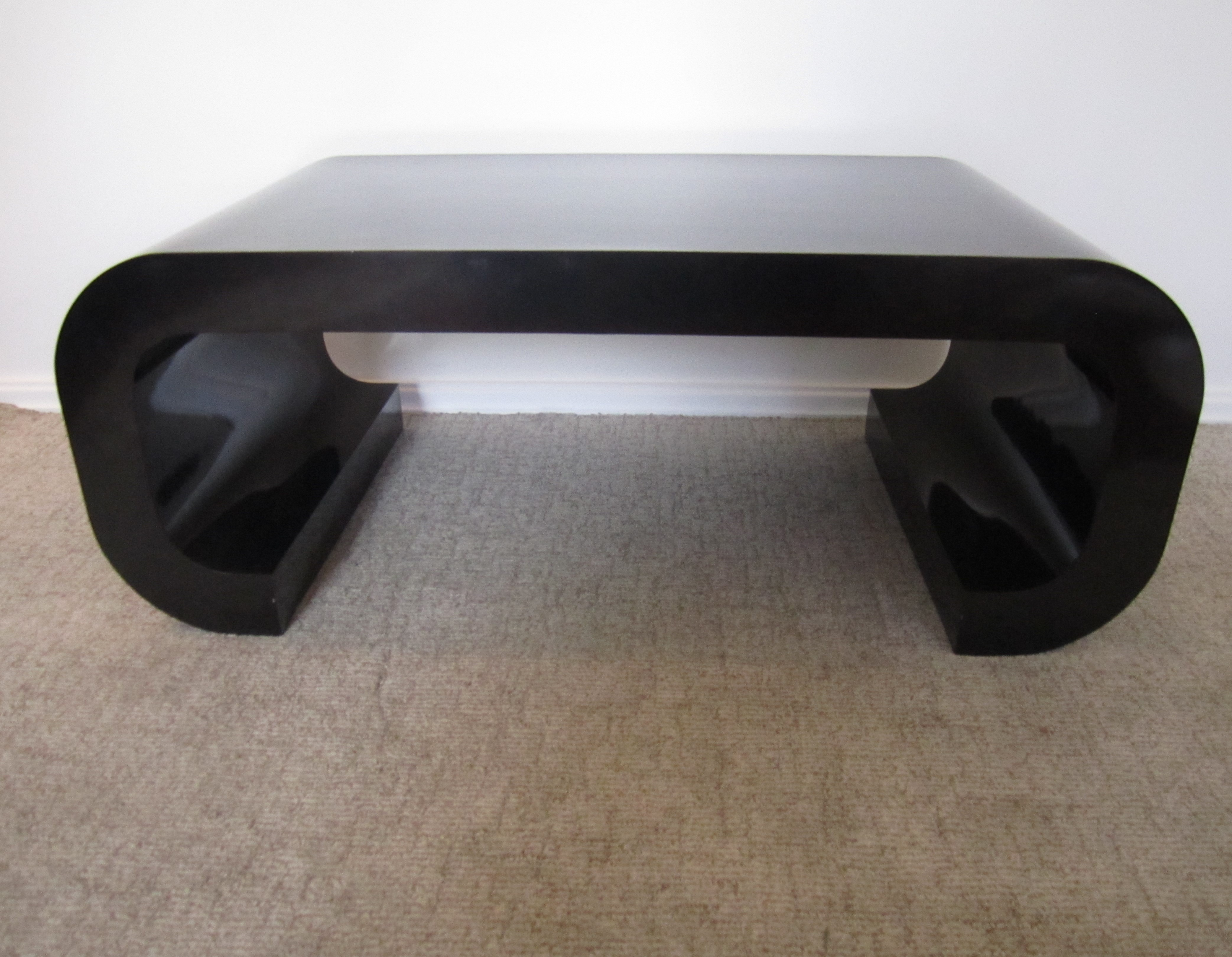 Karl Springer Style 70s Black Scroll Coffee Table   Image 3 Of 9