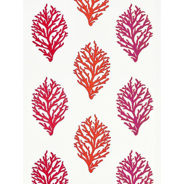 Scalamandre Coral Reef Embroidery, Passion Fruit Fabric For Sale
