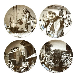 """Williams-Sonoma """"The Satirical Art of William Hogarth"""" 18th-Century Engravings Plates - Set of 4 For Sale"""