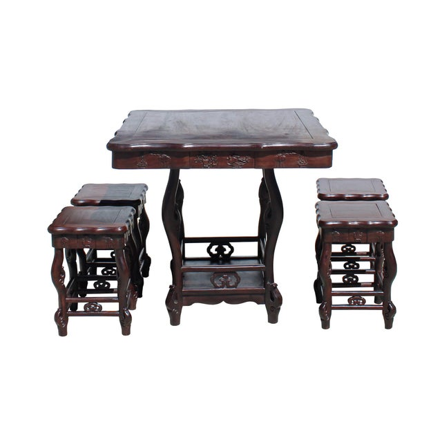 Chinese Dark Brown Huali Rosewood Square Table Chair 5 Pieces Set For Sale - Image 4 of 8