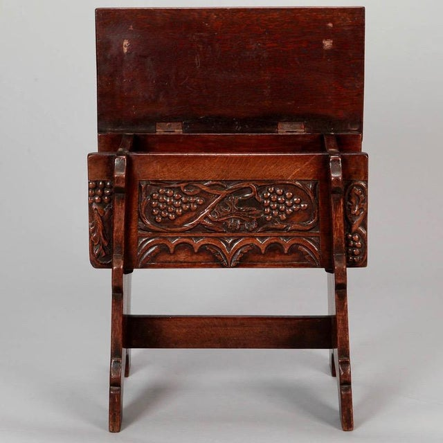 French Hand Carved Oak Stool with Grapes For Sale In Detroit - Image 6 of 9