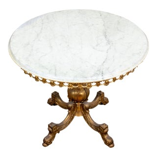 Rococo Revival Gilt Metal and Marble Center Table For Sale