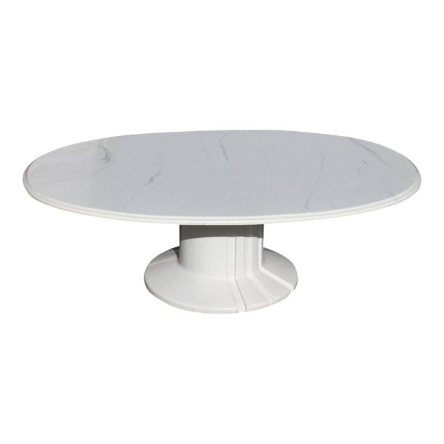 1960s French Modern White Resin Oval Coffee Table For Sale
