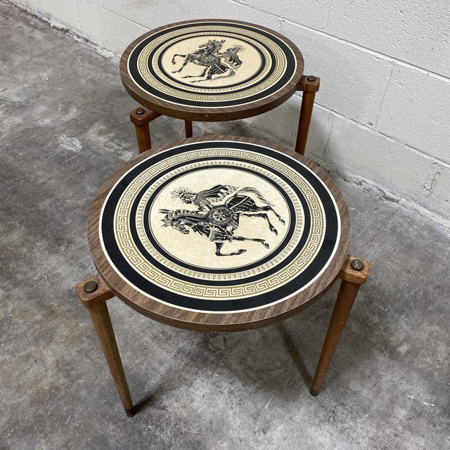 Greek Motif Wood Drink Tables - a Pair For Sale - Image 10 of 11