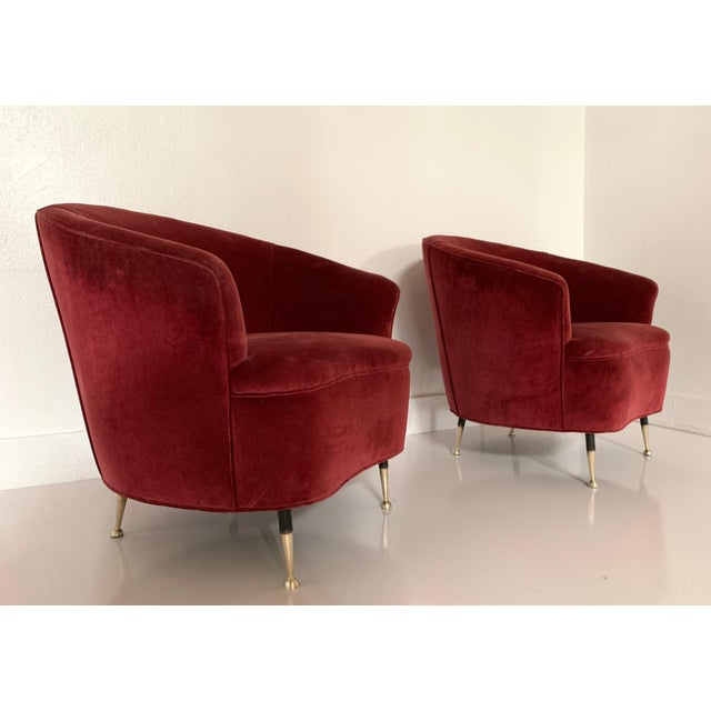 Pair of 1950s Italian Lounge Chairs. Has the original velvet upholstery with brass legs. Gio Ponti style.