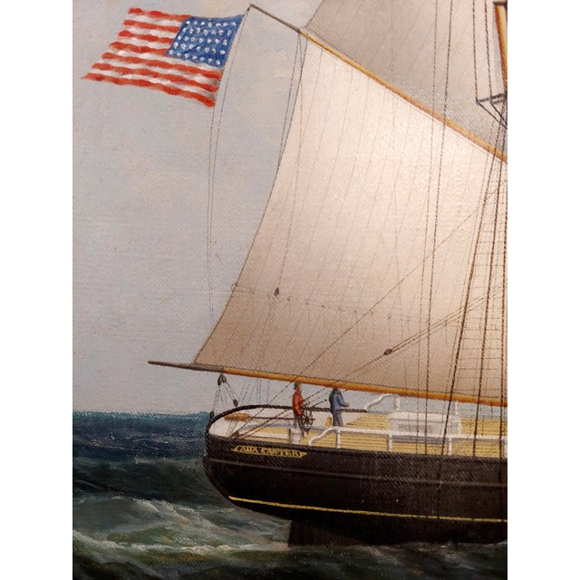 Blue 19th Century Portrait of an American Sailing Ship- Oil Painting -C1860s For Sale - Image 8 of 12