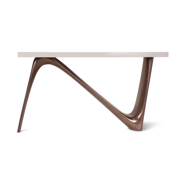 Not Yet Made - Made To Order Amorph Aviva White Lacquered Top and Bronze Base Console For Sale - Image 5 of 9