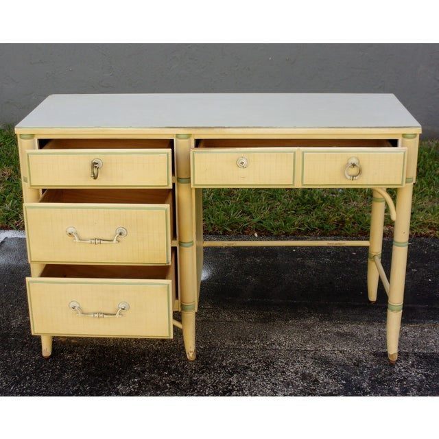 Mid-Century Faux Bamboo Cream Desk - Image 5 of 8