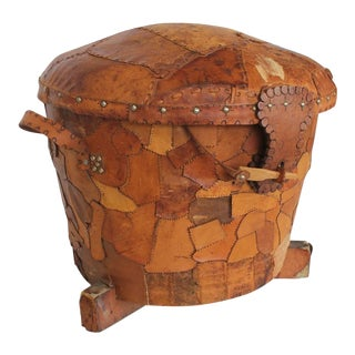 Large Mid-Century Patchwork Leather Basket/Pouf For Sale